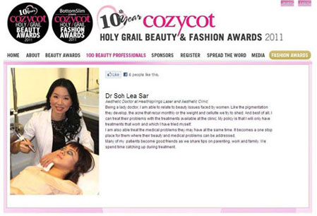Dr Soh Lea Sar is chosen as one of the 100 Most-Loved Beauty Professionals and HOLY GRAIL BEAUTY & FASHION AWARDS 2011