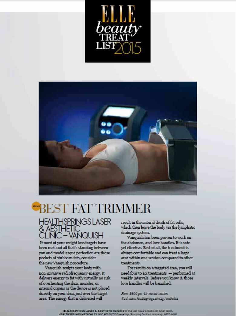 WINNER OF BEST FAT TRIMMER - VANQUISH BEAUTY TREAT LIST - ELLE SINGAPORE WINNER 2015