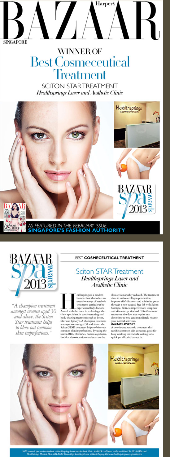 WINNER OF BEST COSMECEUTICAL TREATMENT: SCITON STAR TREATMENT SINGAPORE HARPER'S BAZAAR AWARDS 2013